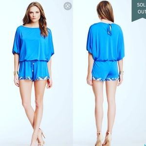 Tata Jolie Blue Silky Romper Retail: $212 Medium